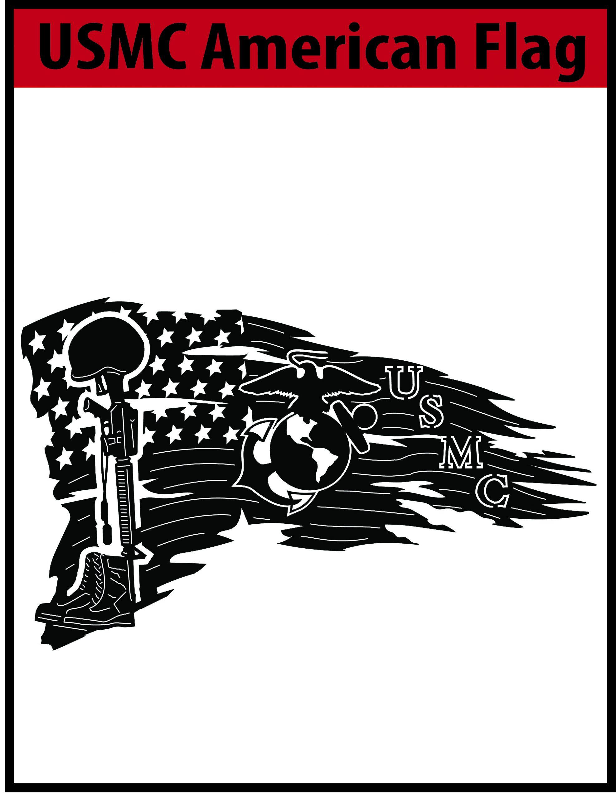 Usmc American Flag Free Dxf File Cnc Dxf Files