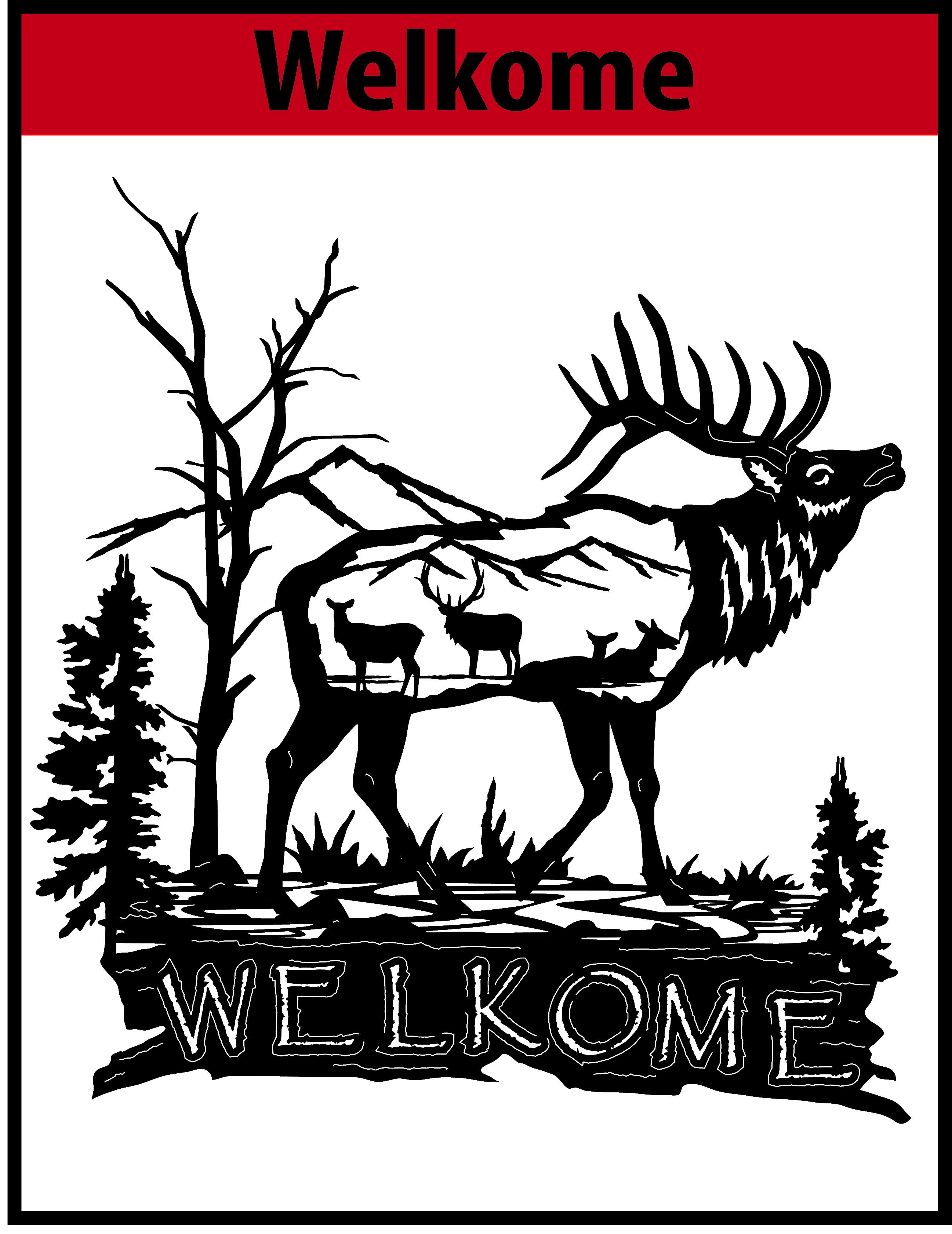 Welkome Elk Free DXF File   CNC DXF Files